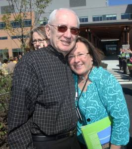 Lisa and her father at the opening of the Alfond Center for Health.
