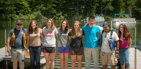 This dedicated crew of Colby students worked on the lakes and in the community as part of the ongoing Water Quality Initiative.