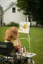 Visiting artists used the backyard of the MLRC as a muse for their watercolor paintings.