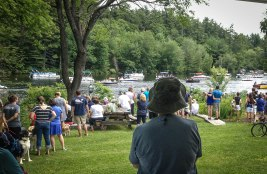 Crowds gathered by the stream for the annual Fourth of July boat parade. Hundreds of visitors stopped in to explore the MLRC and get updates on the ongoing conservation efforts.